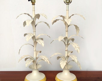 Summer Sale Palm Beach Regency Modern Palm Tree Table Lamps, Pair