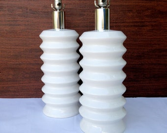Mid Century Modern Large Pair of White Porcelain Table Lamps Spaceage Mod