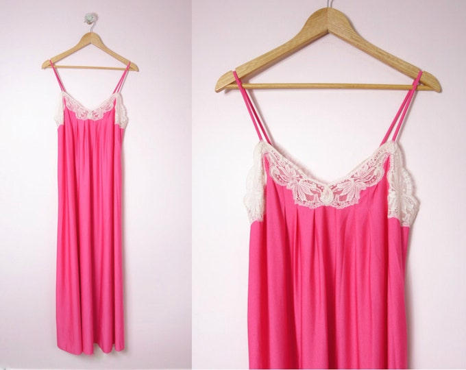 Vintage Pink Nightgown | 1970s Shadowline Nightgown Rose Nylon S