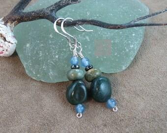 Gemstone Dangle Earrings, Green Jasper Earrings, Sterling Silver Earrings, Stone Earrings, Dangle Earrings, Blue Agate Earrings