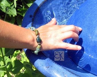 Green Gemstone Bracelet, Jasper Stretch Bracelet, Stone Bracelet, Protective Bracelet, Green Jasper Bracelet, Fancy Jasper Bracelet, Unisex