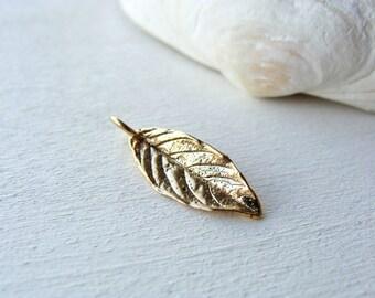 Gold Leaf Charm, Bronze Leaf Charm, Natural Bronze Charm, Gold Charm, Nature Charm, 16mm, (1), 10% off use code SAVE10