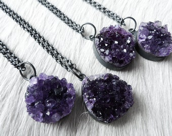 3 DAY SALE Amethyst Stone Necklace | Raw Crystal Amethyst | Amethyst Druzy Necklace | February Birthstone | Unique Amethyst Pendant