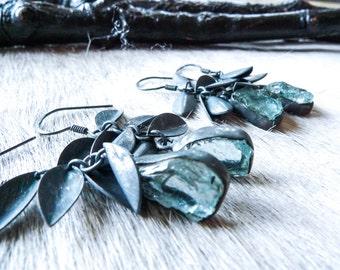 Aquamarine earrings | Dangle earrings | Raw aquamarine earrings | Aquamarine crystal earrings | Chandelier earrings | Boho earrings