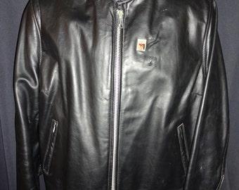"""Cool Vintage Black Leather """"Cafe Racer"""" Rockabilly Motorcycle Jacket M/42"""""""