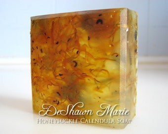 SALE SOAP- Honeysuckle Calendula Soap - Handmade Soap - Vegan Soap - Glycerin Soap- Soap Gift