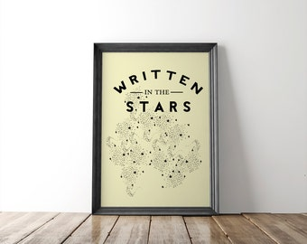 Stars Illustration 8x10 Print // fine art print // inspirational quote // typography // wall art // gifts for her // astronomy decor