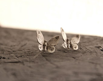 Silver butterly earrings -Sterling Silver butterfly studs -Insect jewelry - Butterfly Wing earrings -Animal jewelry-gift for mom-