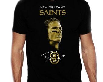 New Orleans Saints Drew Brees Portrait custom art t-shirt in black
