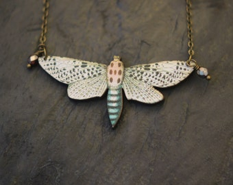 White Moth Necklace, Ivory and Black Butterfly Pendant