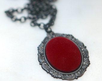 Red Velvet Pendant, Victorian Necklace, Gothic Black Chain, Romantic, Feminine