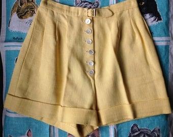 Vintage 1950's Buttery Jonquil linen custom shorts XXS, 0, 00