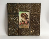 """AUTHENTIC Repurposed Tin Ceiling 4"""" x 6"""" Shabby Chic Taupe Picture Frame Reclaimed Photo 197-16"""