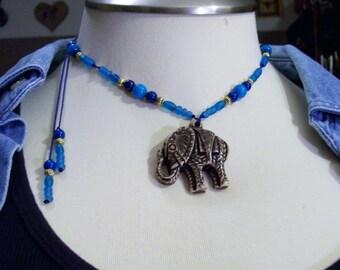 Funky Tribal Eccentric Carved Wood  Elephant Adjustable Necklace Sri sukta