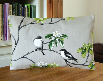 12 x 16 inch birds decorative pillow cover, grey black white green flowers, lumbar cushion cover