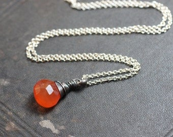 Carnelian Necklace Sterling Silver Necklace Orange Gemstone Pendant Luxe Rustic Jewelry