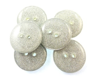 "6 Silver Sparkle Sewing buttons.  Handmade Buttons.  3/4"" or 20 mm.  Handmade by Me.  Washer and Dryer Safe."