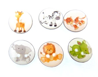 "6  SMALL size Zoo Animal Buttons.Handmade Buttons.  Elephant, Tiger, Lion, Zebra, Elephant, Rhino and Giraffe. 1"" or 25 mm."