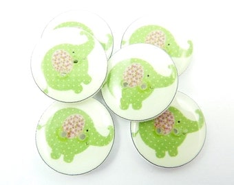 """6 Elephant Buttons. Green Elephant Handmade Sewing Buttons.   3/4"""" or 20 mm.  Novelty Buttons.  Decorative Buttons."""