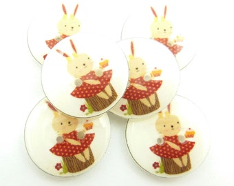 """6  Bunny or Rabbit Buttons.  Handmade Buttons.  Easter or Spring Sewing Buttons. 3/4"""" or 20 mm."""