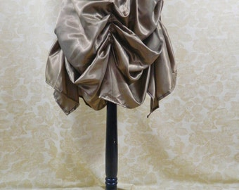 Deep Gold Shot Steampunk Knee Length Tie On Bustle Skirt-One Size Fits All