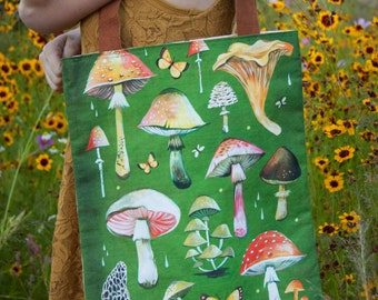 Mushrooms - Handmade Cotton/Linen Tote Bag