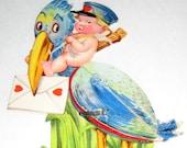 Vintage (1927)  Valentine Card -  Boy on Stork with Honeycomb Heart