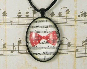 Red Polka Dot Bow on Sheet Music Pendant/Necklace