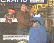 McCalls 8717 1980s Sesame Street Room Accessories COOKIE MONSTeR Laundry Bag and Shoe Bag Pattern Home Decor Vintage Sewing Pattern UNCUT