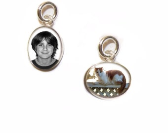 Custom Photo Charm/Tiny 6x8mm Silver Oval