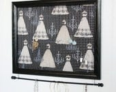 Large Black Framed Jewelry Organizer- Upcycled 11x14 Picture Frame
