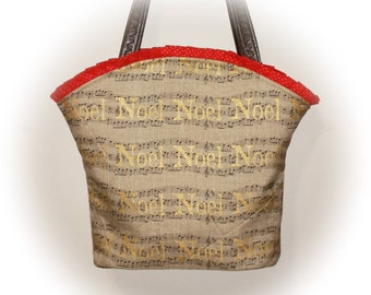 Sale . . . FREE Ship USA Canada - J Castle Boutique Bag - Christmas Noel Natural Linen Metallic Gold Designer Fabric - - (Ready to Ship)