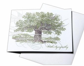 Letterpress Blank Sympathy Card, Condolence Card with Tree
