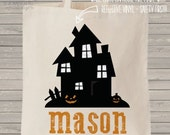 REFLECTIVE trick or treat bag - personalized spooky haunted house and name