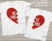 Best friend matching sparkly heart shirt set - perfect for BFFs and sisters