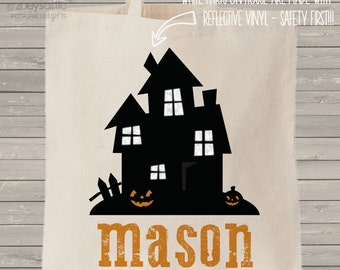 REFLECTIVE trick or treat bag - personalized spooky haunted house and name MBAG1-010