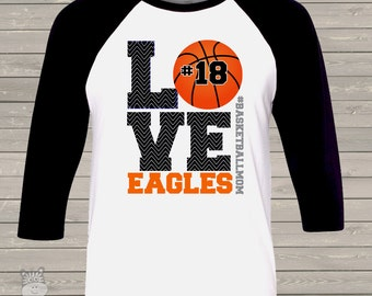 Basketball mom chevron LOVE three quarter sleeve ADULT raglan baseball shirt