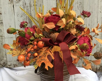 Large Fall Table Centerpiece, Fall Table Decorations, Thanksgiving Centerpieces, Fall Home Decor, Fall Harvest Arrangement