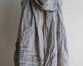 SALE, e.e. cummings gray linen text poetry scarf - shawls-  holiday gifts, women's fashion accessories