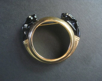 Brass Vintage Black Panther Circle Pin with Rhinestone Eyes Art Deco Style