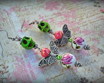 FLUTTERING FLYERS collection/ Model #1 OOAK whimsical skull butterfly long dangly earrings with hand painted porcelain beads by WiLd PeArLy