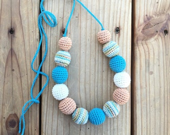 Nursing necklace, Teething necklace, teal, boho necklace, teething toy, Baby shower gift, crochet teether, Mother day.