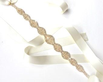 Stylish Crystal Bridal Belt Sash or Headband in Gold - White Ivory Satin Ribbon - Rhinestone Wedding Dress Belt - Standard Length