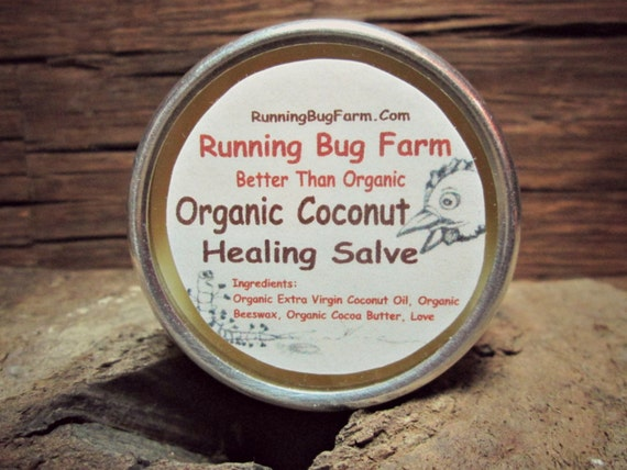 Coconut Healing Hard Salve for Hands Lips Body Natural Oils Butters Non GMO Fragrance Free Organic Cruelty Free Eco Friendly Chemical Free