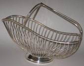 Silver Wire Wine Champagne Bottle Caddy Basket Holder Made In Spain Vintage