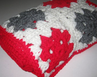 """Granny Square Scarf Hand Crocheted Gray Red White 60"""" Long Free Shipping"""