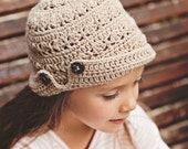 Instant download -  Crochet PATTERN (pdf file) - Buttoned Brim Hat (baby to adult)