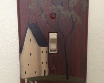 Hand Painted Primitive Red Switch Plate Cover