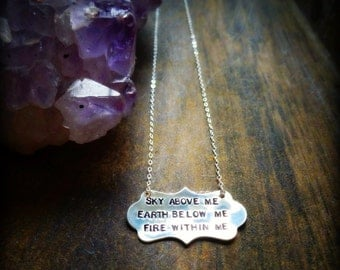 Inspirational quote necklace, motivational, hand stamped message charm necklace, sterling silver, phrase necklace, be brave, fearless