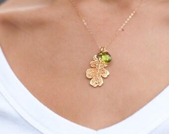 Oak Leaf Necklace with Custom gemstone, silver dipped leaf necklace, real leaf jewelry, Silver or gold